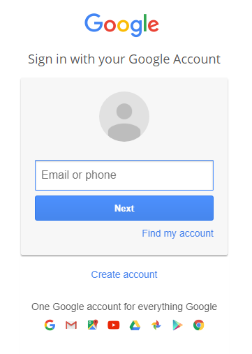 Google G-Suite Sign In Screenshot